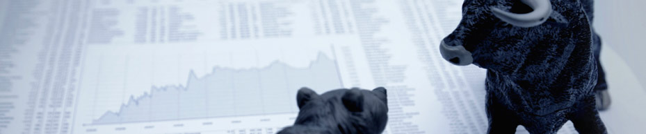 Internal Audit Recruitment - Bear and Bull meeting over a stocks and share page